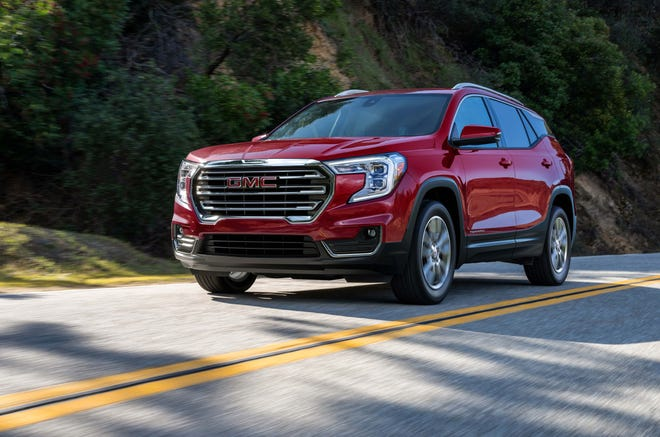 The 2022 GMC Terrain in mid-level SLT trim. The Terrain is offered in FWD and AWD.