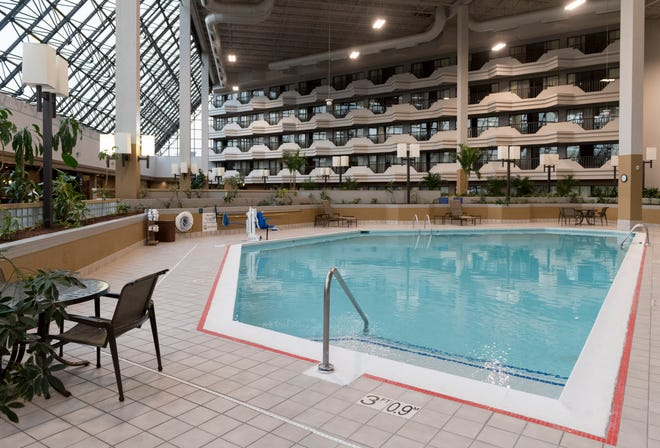The pool and atrium inside the new Melrose Assisted Living facility, formerly the old Airport Holiday Inn, off U.S. 41 in Evansville, Ind., Tuesday, March 23, 2021.
