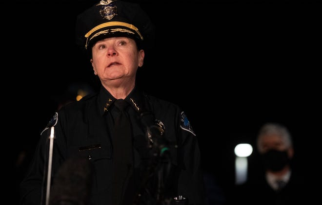Boulder Police Chief Maris Herold speaks during a press conference at Whole Foods near the scene of a fatal shooting at King Soopers in Boulder, Colo. on Monday, March 22, 2021.