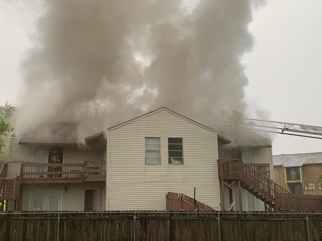 Lafayette Fire Department responds to fire at Fox Run apartments on March 23, 2021.
