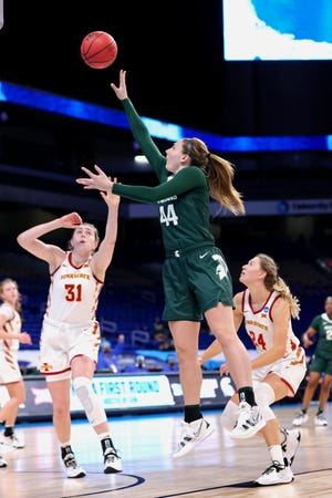 SAN ANTONIO, TEXAS - MARCH 22: Kendall Bostic #44 of the Michigan State Spartans puts up a shot over Morgan Kane #31 of the Iowa State Cyclones during the first half in the first round game of the 2021 NCAA Women's Basketball Tournament at the Alamodome on March 22, 2021 in San Antonio, Texas. (Photo by Carmen Mandato/Getty Images)
