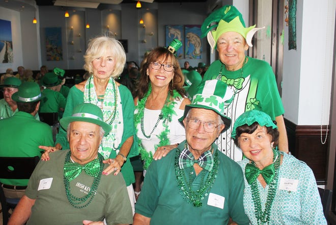 Here comes the Irish! Seated, Sam Mlloro, Bill and Juliette Flasche; stadning: Susanne Grossman,  Jeanne Smith and Randle Grossman.