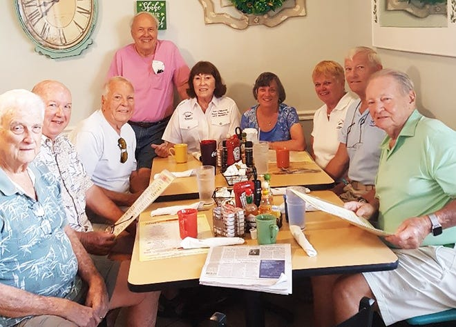 Members, from left, Lee Harkness, Carl Thieme, Gene Burson, Bill Hughes, Andy Battaglia, Patricia (Tippy) Cavanagh, Peggy Reiss, Ted Reiss and John Noffze.