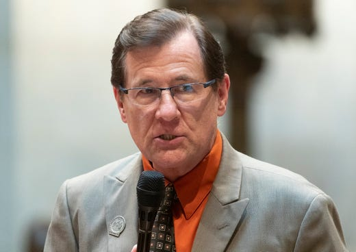 State Rep. David Murphy, R-Greenville, is shown during debate on Assembly Bill 24 at the state Capitol in Madison on Tuesday. The bill would bar health officials from requiring places of worship to close buildings during disease outbreaks like the coronavirus pandemic. Under Evers' stay-at-home order issued last spring, churches and other places of worship were required to close to the public and instead offer virtual services to prevent the spread of COVID-19.