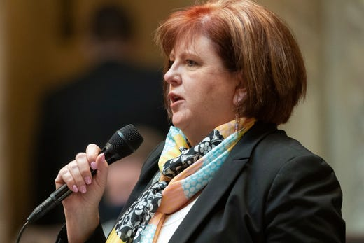 State Rep. Barbara Dittrich, R-Oconomowoc, is shown during debate on Assembly Bill 24 at the state Capitol in Madison on Tuesday. The bill would bar health officials from requiring places of worship to close buildings during disease outbreaks like the coronavirus pandemic. Under Evers' stay-at-home order issued last spring, churches and other places of worship were required to close to the public and instead offer virtual services to prevent the spread of COVID-19.