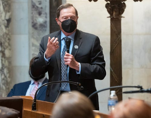 State Rep. Don Vruwink, D-Milton, is shown during debate on Assembly Bill 24 at the state Capitol in Madison on Tuesday. The bill would bar health officials from requiring places of worship to close buildings during disease outbreaks like the coronavirus pandemic. Under Evers' stay-at-home order issued last spring, churches and other places of worship were required to close to the public and instead offer virtual services to prevent the spread of COVID-19.