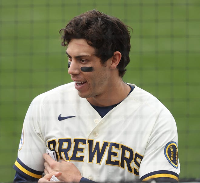 Christian Yelich had two hits Tuesday afternoon including a home run.