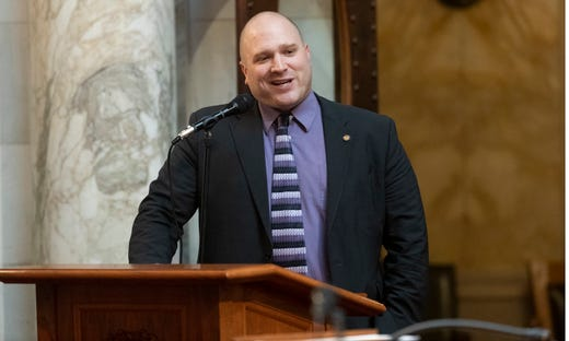 State Rep. Shae Sortwell, R-Two Rivers, is shown during debate on Assembly Bill 24 at the state Capitol in Madison on Tuesday. The bill would bar health officials from requiring places of worship to close buildings during disease outbreaks like the coronavirus pandemic. Under Evers' stay-at-home order issued last spring, churches and other places of worship were required to close to the public and instead offer virtual services to prevent the spread of COVID-19.