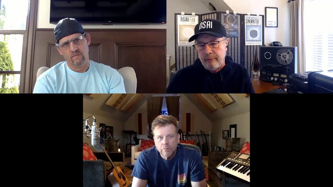 Clockwise from top left: Neil Thrasher, Bart Herbison and Wendell Mobley discuss songwriting