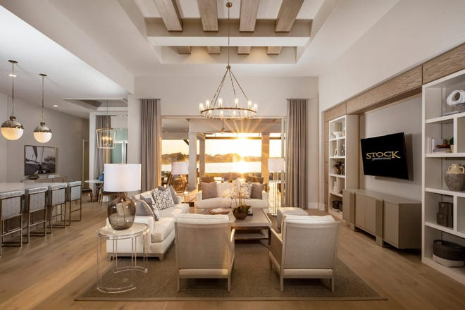 The living room of the Clairborne II by Stock Luxury Homes, 2021 Parade of Homes Featured Model.