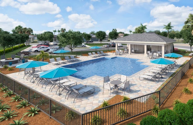 The new amenity center underway at Manatee Cove is designed to foster new community friendships.