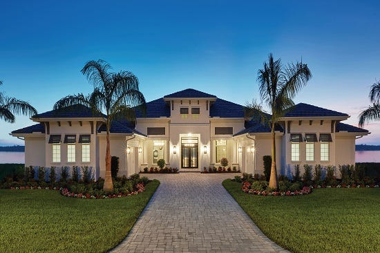 An exterior view of Stock Luxury Homes' Clairborne II, 2021 Parade of Homes Featured Model.