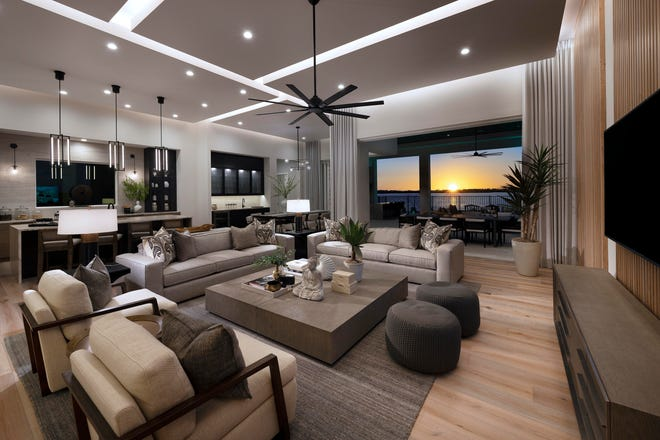 Priced at $3,084,000 with furnishings, Seagate Development Group's Genova model at Esplanade Lake Club features an interior created by Theory Design.  The Genova model is open for viewing and purchase.