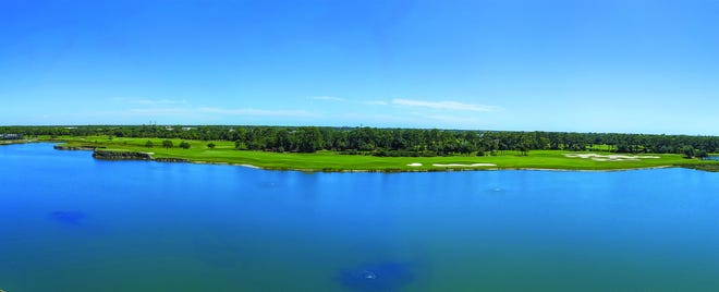 The residences at Moorings Park Grande Lake offer incredible views across a 28-acre lake to the manicured fairways and greens of the Naples Grande golf course.