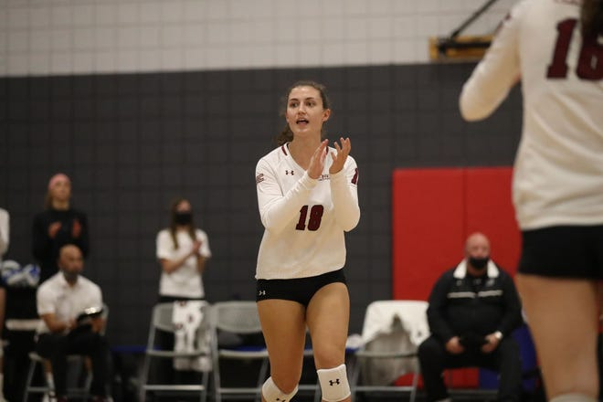 Redshirt junior Jordan George celebrates a point for New Mexico State.