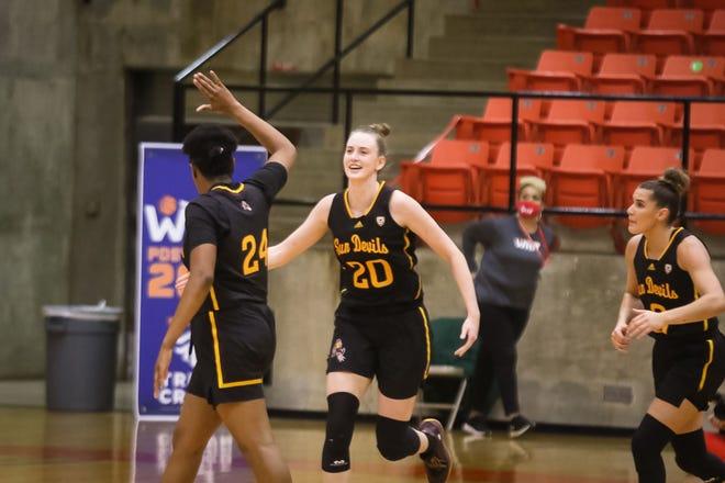 Freshman forward Katelyn Levings (20) scored a co-team high 10 points Monday in Arizona State 50-48 season-ending WNIT region consolation final loss to Houston.
