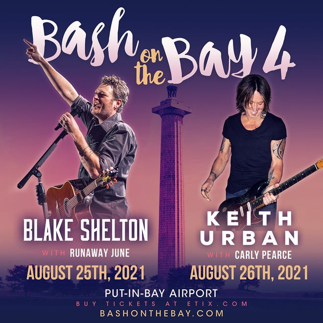 The fourth annual Bash on the Bay country music festival at Put-in-Bay will now be taking place over the course of two days, Wednesday and Thursday, Aug. 25-26, featuring headliners Blake Shelton and Keith Urban.