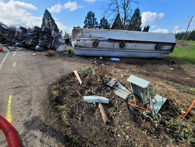 An overturned tanker truck blocked Golf Club Road SE near Stayton on Tuesday, March 23, 2021.