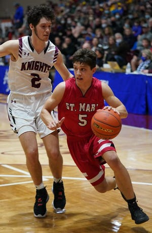 Nothing came easy for Connor Libis in St. Mary's semifinal round game against Aberdeen Christian in the Class B tournament on Friday, March 19, 2021.