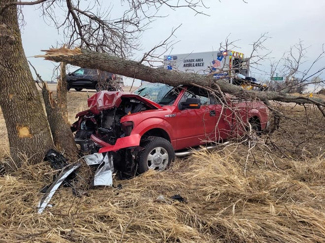 The driver lost control of the vehicle and hit a tree head-on.
