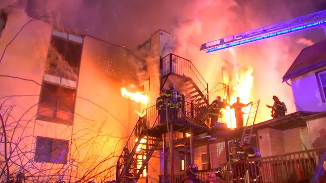Multiple alarm fire at the Evergreen Home for Adults in Spring Valley, March 23, 2021.