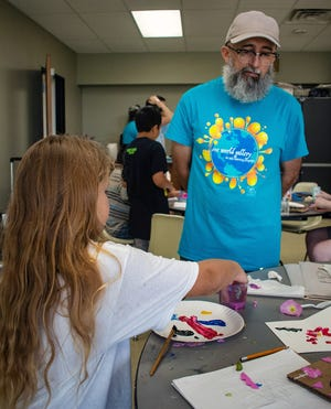 Daniel Juarez leads a 2019 Summer Camp session for The Alliance at the Wichita Falls Museum of Art at Midwestern State University.
