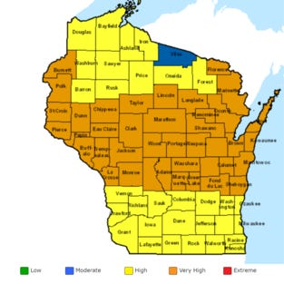 The Wisconsin Department of Natural Resources (DNR) is reminding residents that fire danger remains high across the state.