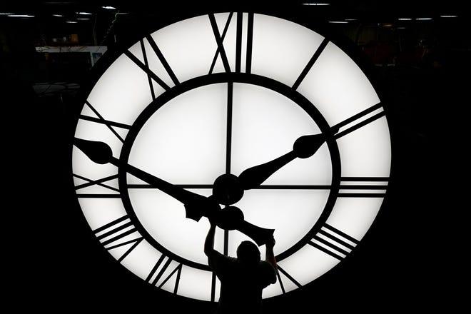 Clock on March 9, 2021, in Medfield, Massachusetts.