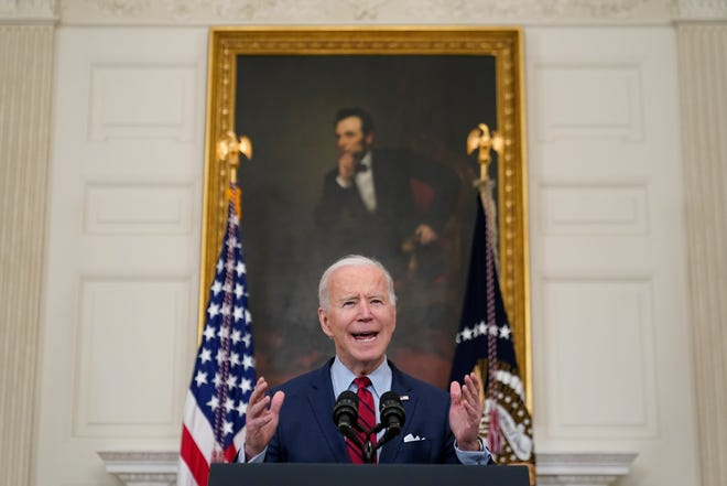 President Joe Biden talks about the shooting in Boulder, Colorado, Tuesday, March 23, 2021, in the dining room of the White House in Washington.