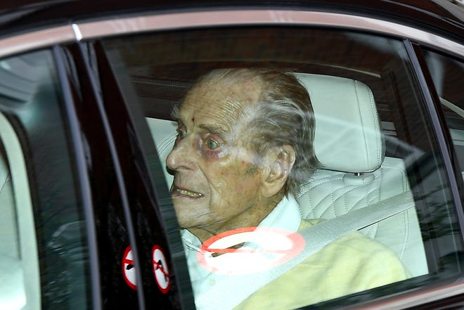 Prince Philip leaves King Edward VII's Hospital on March 16, 2021 in London.