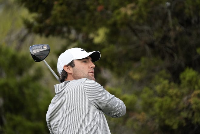 Scottie Scheffler hits off the fifth tee during a first round match at the WGC-Dell Technologies Match Play tournament Wednesday at Austin Country Club. Scheffler, who beat Jason Day 2-up, joined Jordan Spieth and Dylan Frittelli as former Texas golfers who won on the first day of the event.