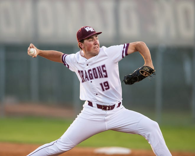 Round Rock pitcher James McGlumphy delivers to the plate in the Dragons' 5-1 win over rival Westwood Tuesday. McGlumphy pitched a complete game with 12 strikeouts.