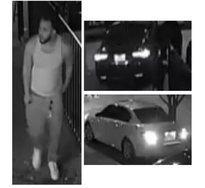 Austin police are searching for a man and two vehicles involved in a March 12, 2021 shooting at Barbershop at Midtown, 7308 Cameron Rd. The man is a person of interest in the case, police said. [AUSTIN POLICE]