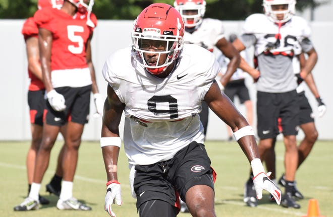 Georgia defensive back Ameer Speed (9) during the Bulldogs practice in Athens, Ga., on Thursday. Sept. 3, 2020. (Photo by Steven Colquitt)