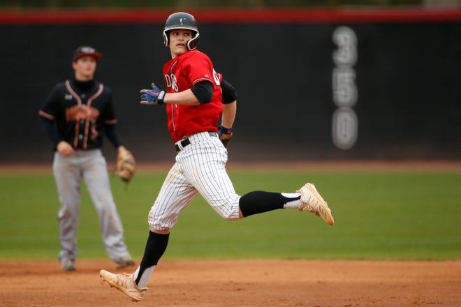 Winder-Barrow's Brady House (4) runs for second base during an GHSA high school baseball game between Lanier and Winder-Barrow in Winder, Ga., on Tuesday, March 23, 2021. Winder-Barrow won 9-5. (Photo/Joshua L. Jones, Athens Banner-Herald)