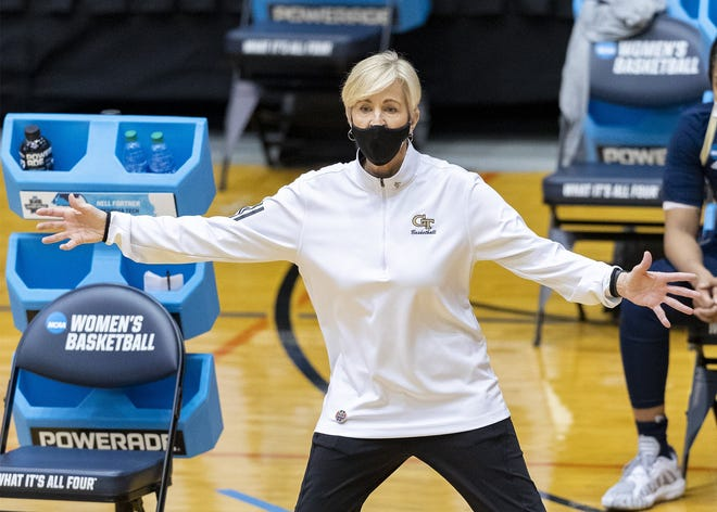 Georgia Tech coach Nell Fortner calls out to the team during the Yellow Jackets' win over West Virginia in the second round of the NCAA women's tournament at the UTSA Convocation Center in San Antonio Tuesday. Fortner used part of her post-game press conference to talk about the NCAA's treatment of the men's and women's basketball tournaments.