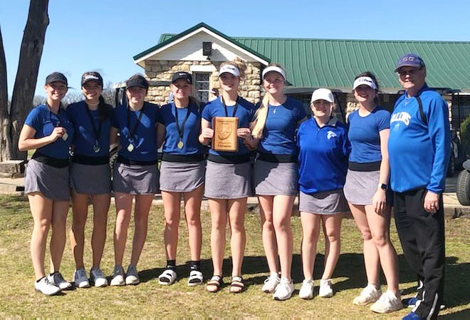 The Turner High School girls golf team poses for a photo after shooting a 354 to take first place at the Tishomingo Tournament.