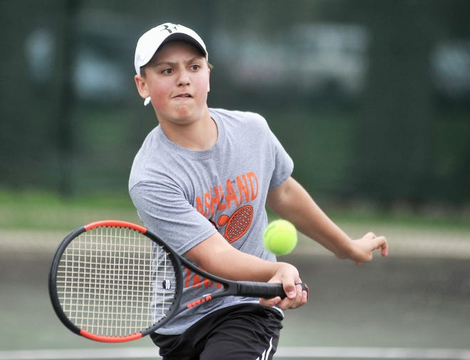 Ashland's Ryan Frazee returns a shot during a doubles match at the Ohio Cardinal Conference Tournament in 2018. Frazee is the lone returning Arrow with varsity experience.