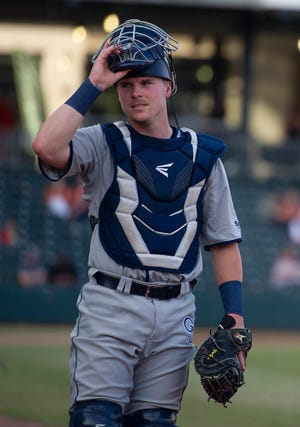 Georgia Southern catcher Matt Anderson during warm ups  at the college baseball game between Clemson and Georgia Southern at SRP Park on March 23, 2021 in North Augusta, SC. [MIKE ADAMS FOR THE AUGUSTA CHRONICLE]