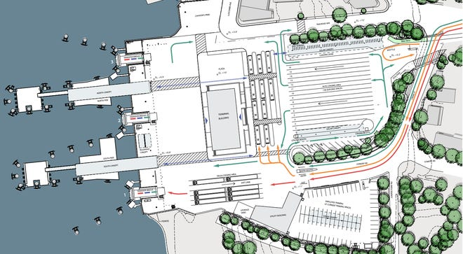 A schematic of the proposed Woods Hole, Martha's Vineyard and Nantucket Steamship Authority Terminal and support building in Woods Hole incorporates several changes made since the first proposal, including a new location for the park and a new pedestrian pathway for bus riders. [BIA.studio]