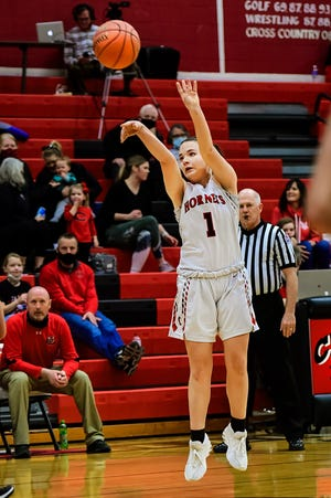 Sophomore guard Jessica Reeter of the 2020-21 Chillicothe High School basketball Lady Hornets, seen firing a 3-points shot during a district-tournament win over Richmond, has been selected to the Missouri Sportswriters and Sportscasters Association's all-northwest district Classes 4-6 team.
