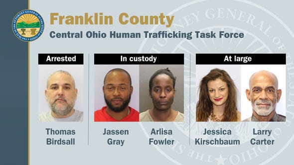 The Ohio Attorney General's office is asking the public to help authorities locate two suspects who are among a group of five Columbus individuals indicted on human trafficking and drug charges. Jessica A. Kirschbaum, 28, and Larry C. Carter, 65, remained at-large Wednesday, when authorities arrested a third suspect. Two others were already in custody.