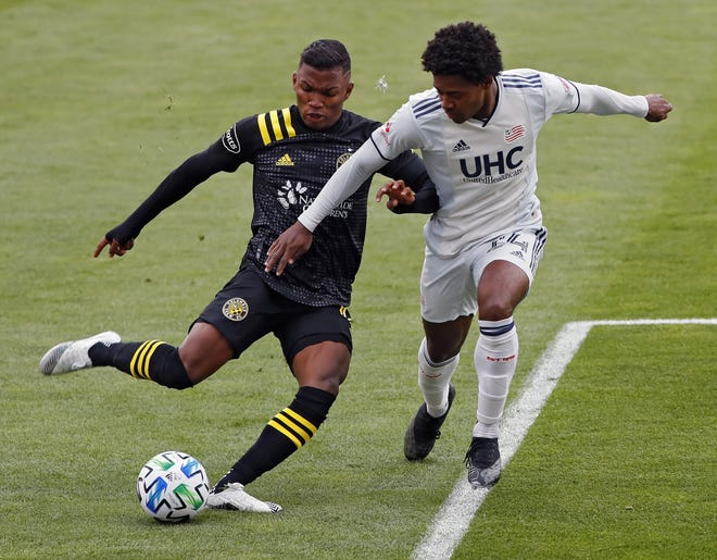 Crew winger Luis Diaz, left, struggled through much of the 2020 season but had a strong showing in the MLS postseason, including against New England in the Eastern Conference final.