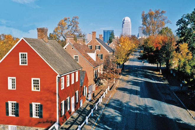 View from within Old Salem Museums & Gardens as it faces downtown Winston-Salem