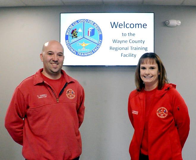 Wayne County Regional Training Facility Director Dallas Terrell and EMS Program Director Erica Springer inside the new education facility.