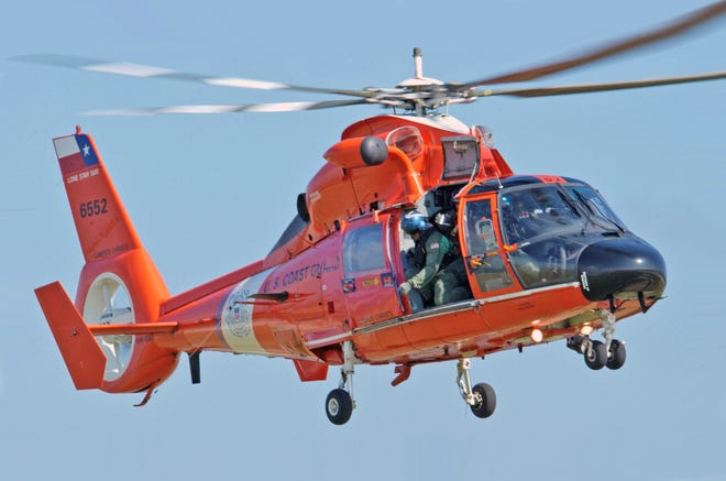 A Coast Guard MH-65 Dolphin rescue helicopter.