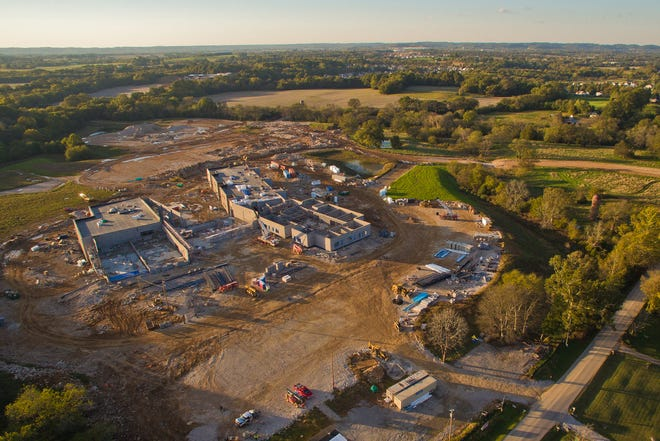 An aerial view shows Battle Creek Middle School campus under construction in 2019 in Spring Hill. The Maury County school board plans to request funding for the construction of a high school on the campus, which would eventually house an elementary, middle and high school.