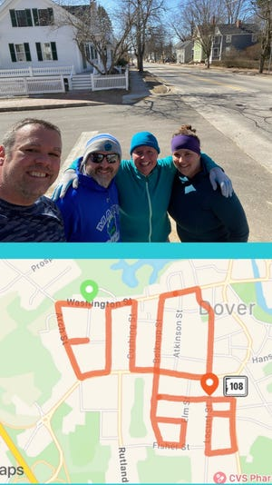 Four race participants walked streets to create a GPS End68 message