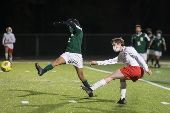 Cooper King (6) of Hendersonville gets the first goal of the night for the Hendersonville Bearcats at East Henderson earlier this season.