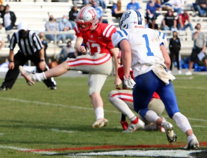 Hendersonville placekicker Cooper King kicks a field goal during the Bearcats' game against Polk County earlier this season at Dietz Field.